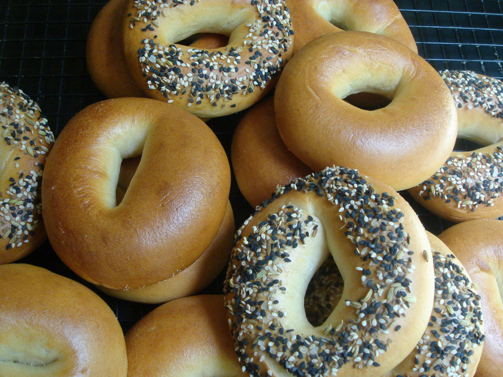 Sourdough Bagels plain and seeded..