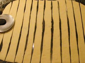 Grissini bread sticks dough strips