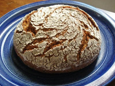 Finnish rye loaf on plate