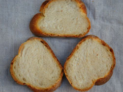 Potato bread slices with tight crumb