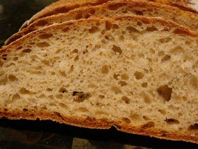 Potato bread slice with open crumb