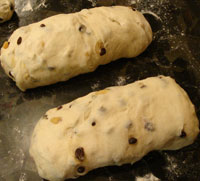 dough preshaped into cylinders for baguettes