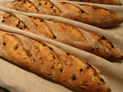Semolina Bread with Fennel, Currants, and Pine Nuts - 3 baguettes