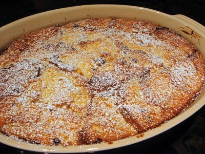Panettone bread pudding in baking dish