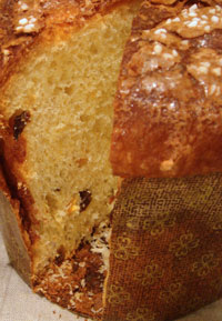 panettone loaf with a slice removed