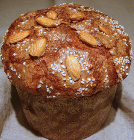 glazed panettone with almonds and pearl sugar