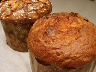 glazed and unglazed panettone loaves