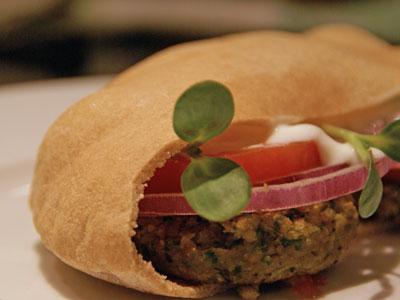 Falafel sandwich with whole wheat pita