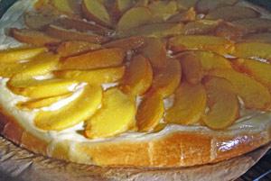 baked peach briche tart