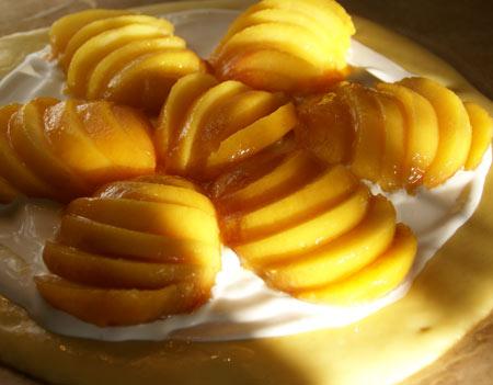 peach brioche tart before baking