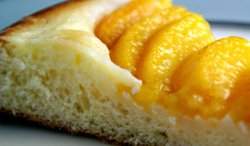 slice of peach brioche tart