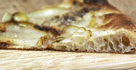 pear gorgonzola pumpkin seed pizza