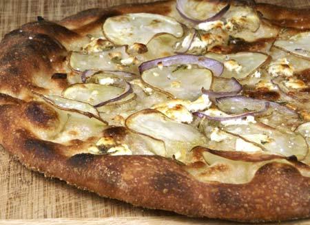 potato rosemary goat cheese pizza