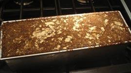 baked pumpernickel in pan