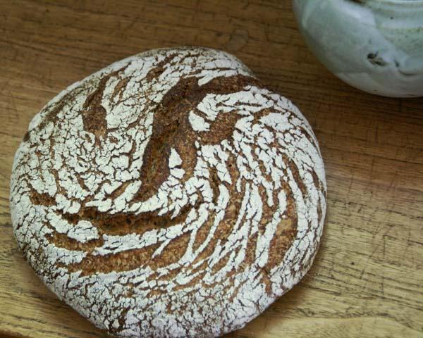 cracked rye-polenta sourdough