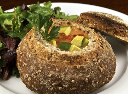 gazpacho in spelt-hempseed bread bowl