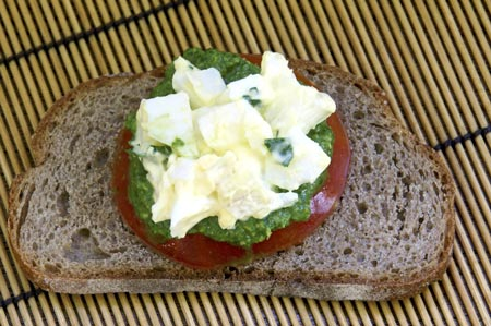rye toast with egg salad