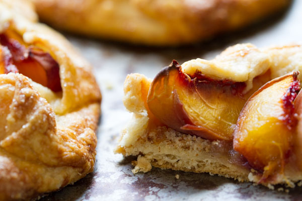 peach galette crust with a breadcrumb layer