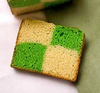 Two-color pandan cubic milk bread