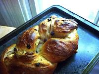 White Wheat Challah with Raisins
