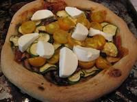 Zucchini Yellow Tomato Goat Cheese Pizza