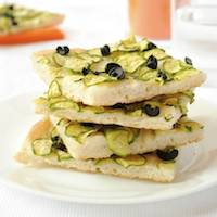 Focaccia with Zucchini and Black Olives