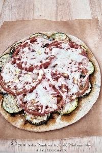 Zucchini and Heirloom Tomato Flat Bread