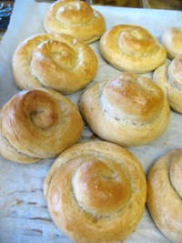 Snails and Cloverleaf Dinner Rolls