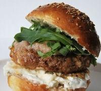 Burger sandwich with bacon jam