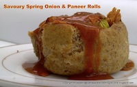 Savoury spring onion and paneer rolls