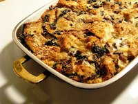 Cheese Strata with Kale and Mushrooms