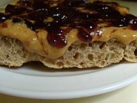 Peanut butter and jelly on whole wheat focaccia
