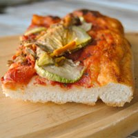 Sourdough Pizza with zucchini flowers