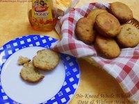 No-Knead Whole Wheat Date & Walnut Mini Buns