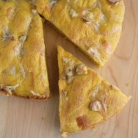 Pumpkin Focaccia with Walnuts & Camembert