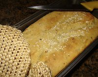 Durum wheat garlic basil bread loaf