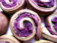Green Tea Rolls with Purple Sweet Potato Filling