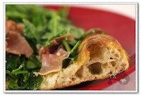 prosciutto arugula pizza with baguette dough