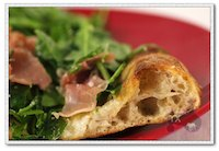 prosciutto arugula pizza with baguette dough