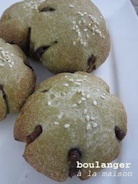 Green Tea Bread Bun with Red Been Filling