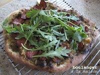 Chorizo pesto pizza with whole-wheat pizza base