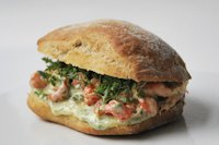 Rye ciabatta with crayfish and basil mayonnaise