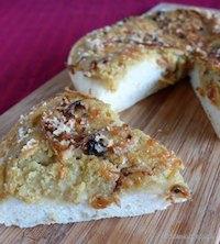 Sweet potato-onion pizza