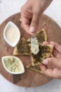 Mini Pitas, Man'oushe Zaatar and Hummus bi Tahini