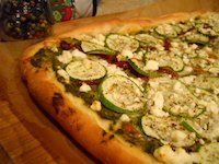 Pesto Pizza with Semolina Crust