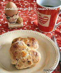 orange and raisin  heart-shaped buns