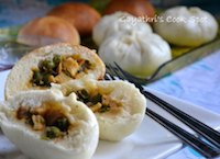 Eggless Chinese Steamed Buns(Vegetarian Version)