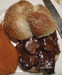Barbecued Beef Sandwich On Double Knot Roll
