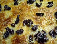 Focaccia with Rosemary, Kalamatas and Parmesan