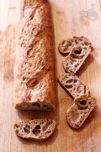 36hr+ sourdough baguette with 60% wholegrain